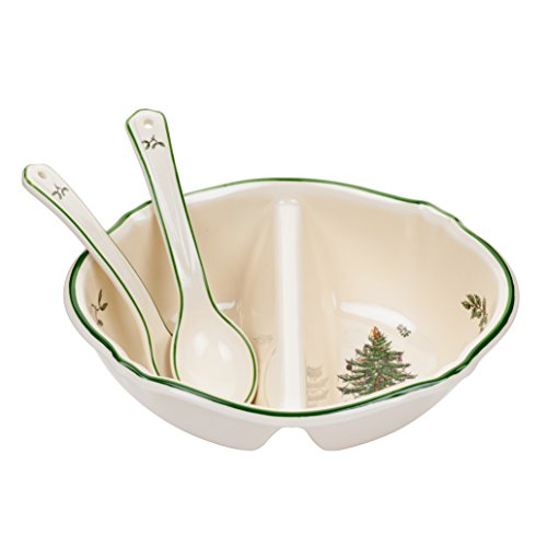 Spode Christmas Tree Divided Serving Dish with 2-Spoons 2 Spode Christmas Tree