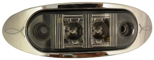 Autosmart Kl-15114C-Ae Amber Oval Led Clearance/Side Marker Light With Clear Lens And Chrome Bezel
