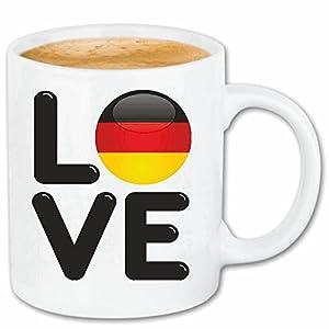 """Kaffeetasse """"I LOVE DEUTSCHLAND GERMANY ICH LIEBE DEUTSCHLAND FUSSBALL BERLIN HAMBURG KÖLN LUDWIGSHAFEN FREIBURG"""" Keramik Höhe 9,5cm ? 8cm in Weiß"""