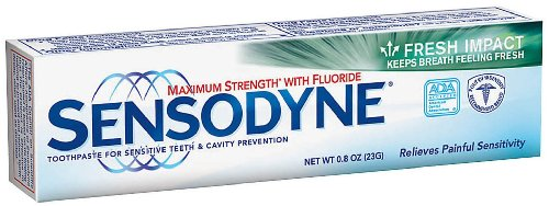 - 	 Sensodyne maximum strength toothpaste for
