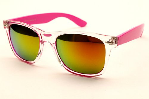 Wayfarer Revo-lens Mirrored Sunglasses W62 (clear/pink arms, mirrored)