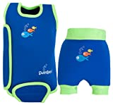 SwimBest Baby Wetsuit & Swim Nappy Set Blue/Green - 12-24 months & 11-13 kgs (12-18 months)