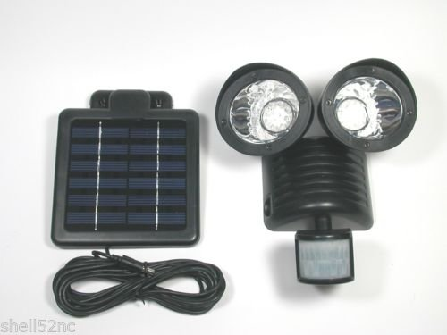 Buy Cheap Motion Sensor Solar Security Spotlight 22 LED Dual Outdoor Flood Light - Black