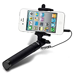 Selfie Stick, Xeviia [New Generation] Plug \'N Play Battery Free (Black)