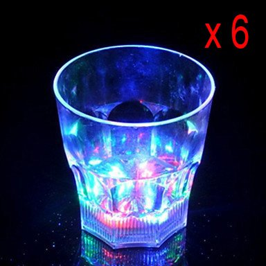 Bestfire® Brand New 7 Flash Light Up Cups Flashing Blinking Led Flash Octagon Cups Shots Light 7 Led Bar Night Club Party Drink Multicolor Liquid Activated Shot Glasses Color Changing For Parties, Bars, Characteristics, Wedding Party With Activity (6 Pcs)