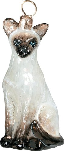 The Pet Set Blown European Glass Cat Ornament By Joy to the World Collectibles – Siamese Cat