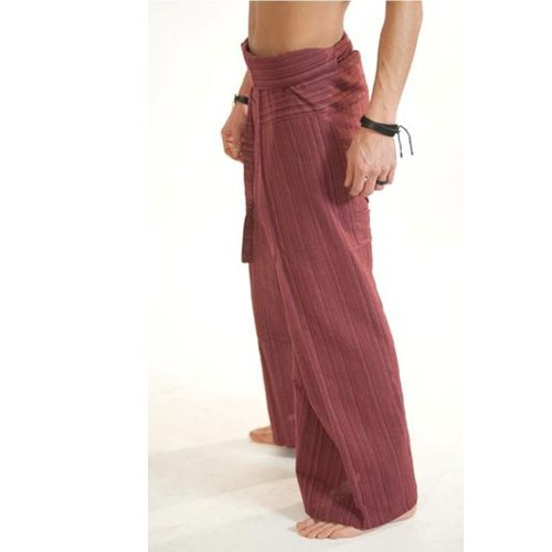 (Striped - Red).!!. Thai Fisherman Pants Cotton 100% Traditional Tailoring Style Yoga Pants , Relax Pants , Clothes Thai Summer (Jackets Eileen Fisher compare prices)
