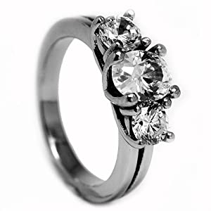2.50 Carat TCW Stainless Steel Engagement Ring with Cubic Zirconia Size 7