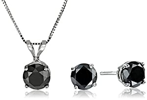 14k White Gold Black Diamond Earrings and Pendant Necklace Set (2.00 cttw), 18''