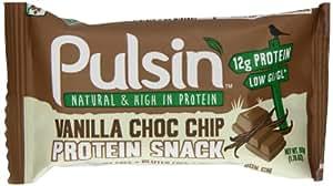 Pulsin Vanilla Choc Chip Protein Bar 50 g (Pack of 18)