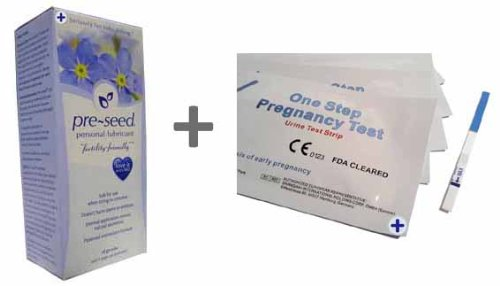 1 x PRE-SEED - Vaginal Lubricant Multi 9 Application 40gm Pack + 5 x Ultra Early Pregnancy Tests 10mIU/mL