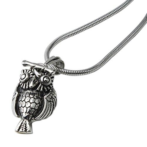alimab gioielli da uomo in acciaio inox con ciondolo gufo argento nero