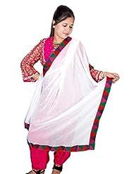 Dulhan Choice Ethnic White Chiffon Dupatta With Beautiful Multicolour Phulkari Lace From Punjab