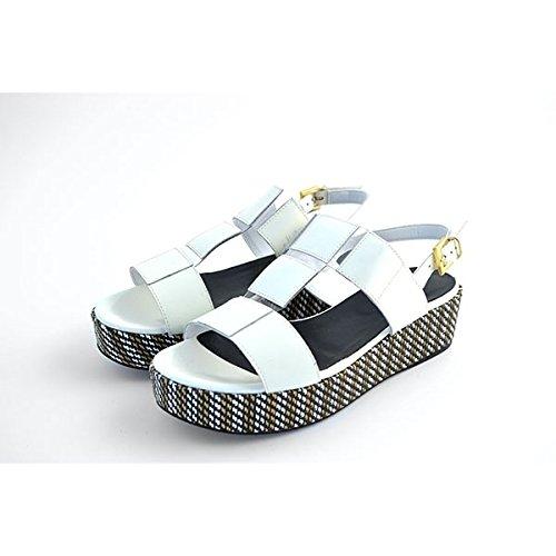 Scarpe Sandali donna Jeannot numero 37 35140BIANCO pelle bianca white leather zeppa
