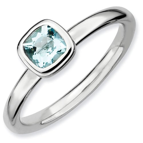 Cushion Cut Aquamarine Stackable Ring - Size 8