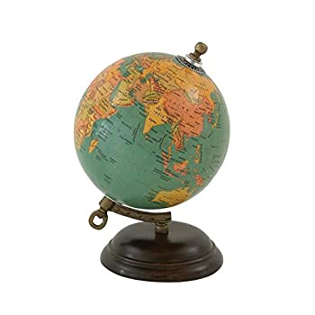 "Deco 79 24983 Wood Metal PVC Globe, 5"" x 8"""