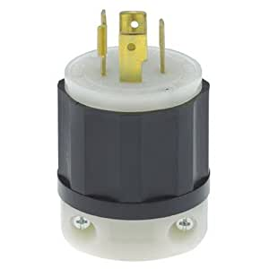 Leviton 2411 20 Amp, 125/250 Volt, NEMA L14-20P, 3P, 4W, Locking Plug, Industrial Grade, Grounding - Black-White