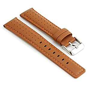 StrapsCo Perforated Tan with Orange Stitching Leather Rally Watch Band size 22mm