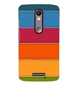 MULTICOLOURED STRIPES PATTERN 3D Hard Polycarbonate Designer Back Case Cover for Motorola Moto X Force