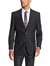 Haggar Men\'s Shadow Pin Stripe Tailored Fit 2 Button Side Vent Suit Separate Coat, Black, 42 R