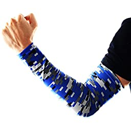COOLOMG Youth Anti-Slip Arm Sleeves Cover Skin UV Protection Sports Adult, Digital Blue, X-Small