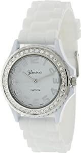 Geneva Platinum CZ Accented Silicon Link Watch, Large Face