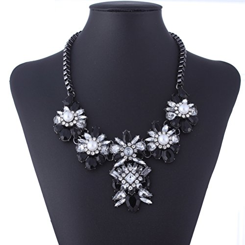 Yazilind Vintage Crystal Black Rhinestone Flower Collar Necklace Jewelry Women