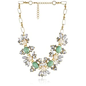 Aqua and Cream Cabochon Crystal Statement in Gold Tone Necklace, 16.5