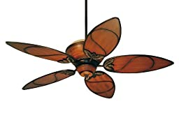 Tommy Bahama Ceiling Fans TB301MAB Paradise Key Tropical Ceiling Fan, 52-Inch Indoor Ceiling Fan with Remote, Light Kit Adaptable, Tropical Ceiling Fans in Medium Antique Brown Finish
