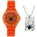 Tikkers analoge Spinngewebenuhr orange & Halskette Geschenkset ATK1000