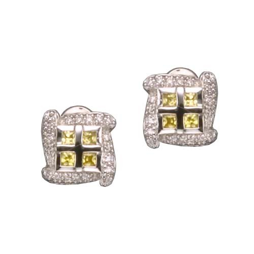 Uma's 925 Sterling Silver Bridal Earrings 4 Carat Bezel Set Round CZ Diamonds w/ Prongs - Incl. ClassicDiamondHouse Free Gift Box & Cleaning Cloth