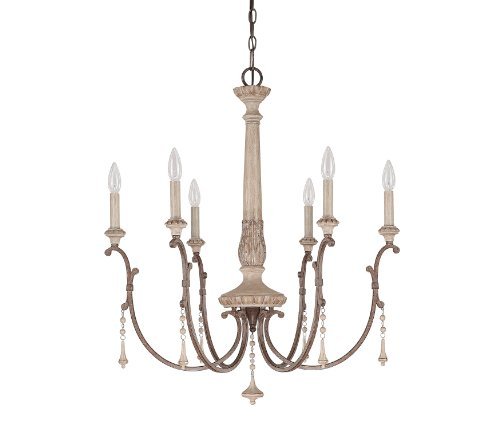 B00BZ9QH84 Capital Lighting 4096FO Chateau 6-Light Chandelier, French Oak Finish with Accent Fobs