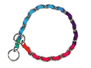 Guardian Gear 26-Inch Steel Dog Choke Chain with Nylon Webbing, Rainbow