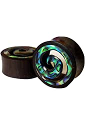 Pair - Buffalo Horn & Abalone Shell Wave Ear Plugs Natural Organic Handcarved Gauges - All Sizes