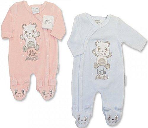 "Baby Strampler ""Little Panda"" Gr.48/50 velour in rosa u. hellblau im Doppelpack/ Zwillingsset Zwillinge Pärchen Strampler aus England"