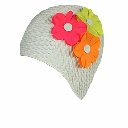 Latex Bubble Crepe Swim Bathing Cap with 3 Flowers for Women (Available in 9 Colors)