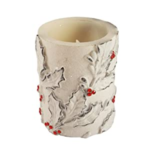 """Christmas Central 4"""" Holly Leaf and Berry Battery Operated Flameless LED Color Changing Wax Christmas Pillar Candle at Sears.com"""
