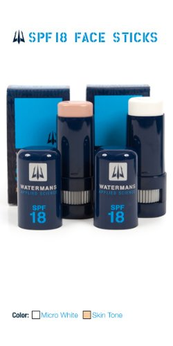 Watermans Applied Science Face Stick Sunscreen Sun Screen non-greasy, lightweight, very water resistant, very sweat resistantaction best sunscreen for sports, biking, canoeing, cycling, outrigger, paddling, riding, running, sailing, surfing, triathlon, water, bike, micro white and skin tone Authorized Dealer Full Warranty, SPF 55, Skin Tone