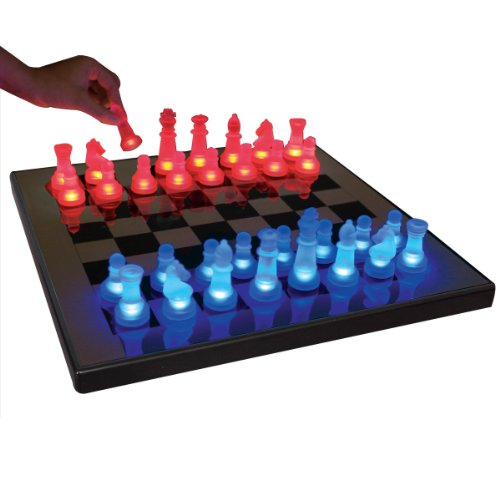 Lumisource Sup-Ledches-Br Led Lightened Glow Chess Set, Blue/Red