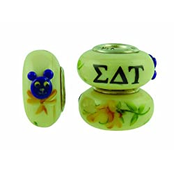 Sigma Delta Tau Sorority Hand Painted Fenton Glass Bead