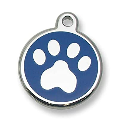 Pet ID Tag - Stainless Steel Paw Print Jewelry Tag- Custom engraved cat & dog ID tags.