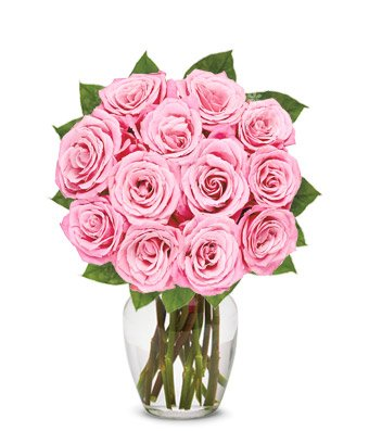From You Flowers | One Dozen Light Pink Roses | Free Vase Included