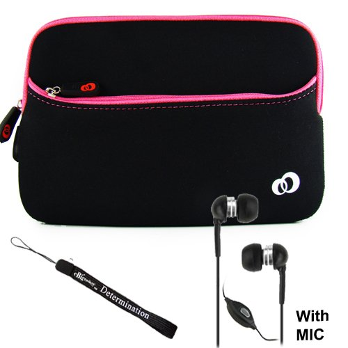 Jet Neoprene Sleeve Book Cover Case Protective with Extra Pocket for Velocity Micro Cruz Reader + includes a eBigValue TM Determination Key Chain Strap + Includes a Crystal Clear High Quality HD Noise Filter Ear buds Earphones Headphones 3.5mm Jack With Mic