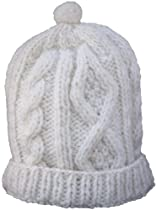 Cable Knit 100 Per Cent Wool Cap with Polar Fleece Lining (cream)