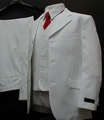 Men's 3 Piece Single Breasted 3 Button White Dress Suit and Vest