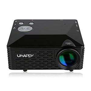 Uhappy Pico Mini LED Multimedia Home Theater Cinema Video Projector 320x240 with USB AV VGA SD HDMI Inputs -Black by Uhappy