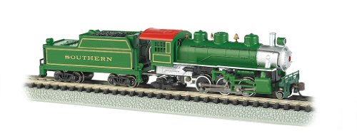 Bachmann Industries Prairie 2-6-2 Locomotive And Tender Southern Train Car, Green, N Scale