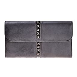 ZLYC Retro Style Handmade Dip Dye Leather Long Clutch Wallet in Spike Studed Detail, Gray