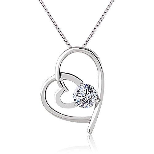 J.Rosée collier en argent 925 de style cœur double avec un diamant au milieu.