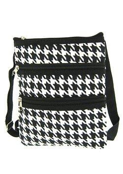 World Traveler Houndstooth Cross Body Bag, Black and White